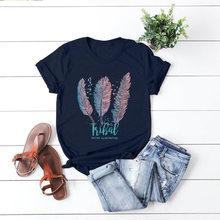 Kadın yaz T shirt pamuk artı boyutu 5XL gevşek rahat kısa kollu tüy baskı t-shirt moda bayanlar temel Tee gömlek tops