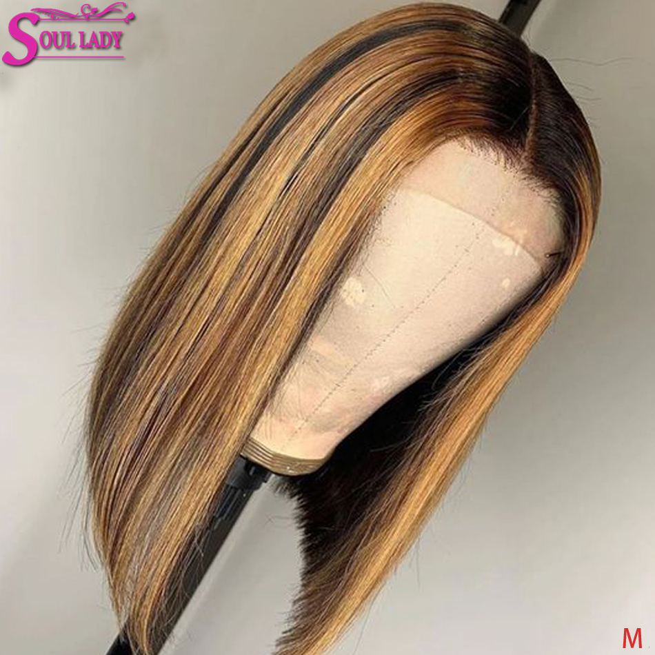 Highlight Bob Lace Front Human Hair Wigs Brown Blonde Highlighted Short Bob Wigs 150% 13x4 13x6 Indian Straight Highlight Wig