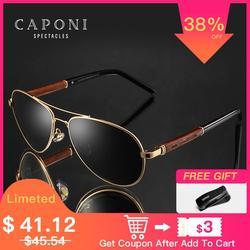 CAPONI 2020 Pilot Sonnenbrille Polarisierte UV400 Hohe Qualität Holz Rahmen Sonnenbrille Für Männer Luxus Marke Fahren Brillen CP409