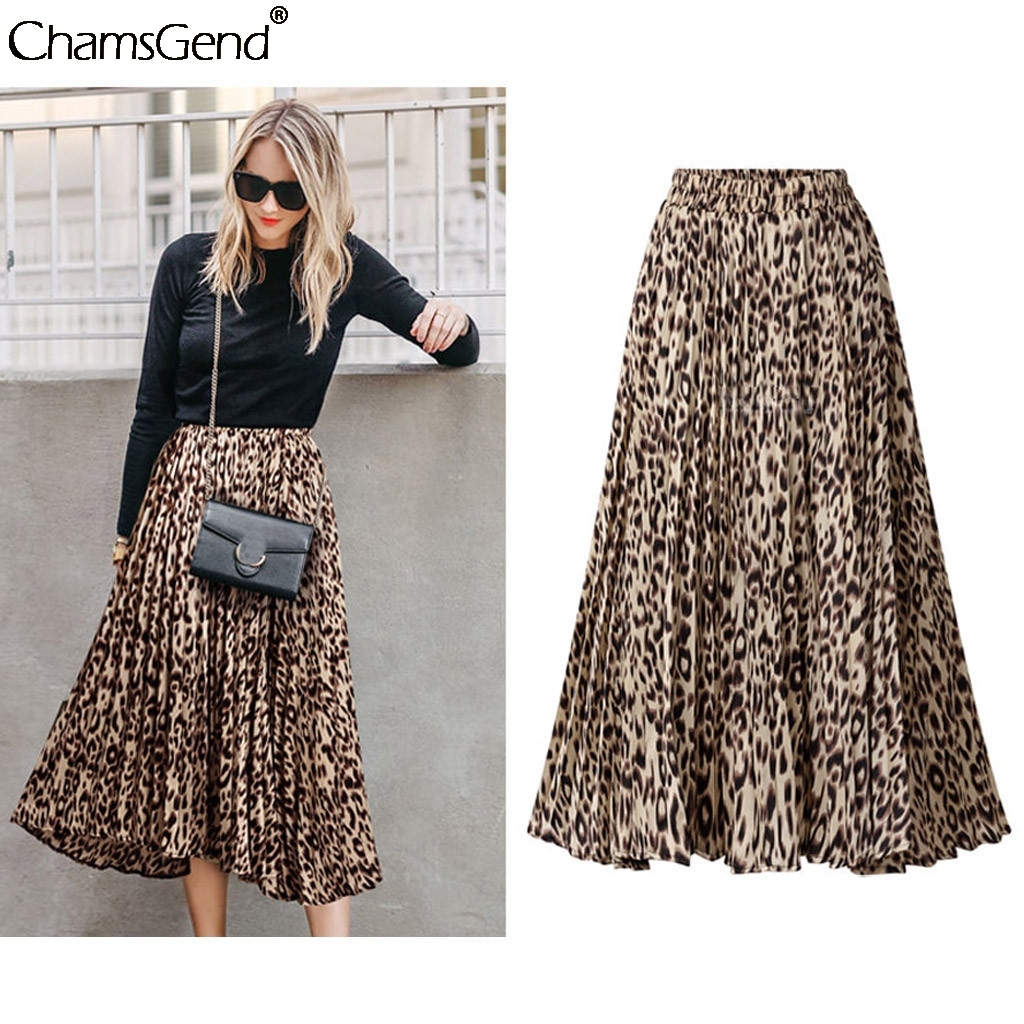 Layered Skirts Faldas Pleated Leopard Print Spring Summer High-Waist Plus-Size New Streetwear