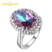 GENUINEGEM Luxury Oval Topaz 925 Silver Jewelry Ring Engagement Wedding Band Rings for Women Men Sapphire Gemstone Fine Jewelry(China)