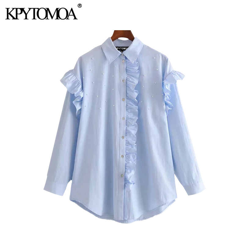KPYTOMOA Women 2020 Vintage Fashion Office Wear Ruffled Blouses Long Sleeve Pearl Beads Female Shirts Blusas Mujer Chic Tops