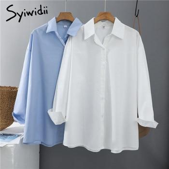Syiwidii Women Blouses Office Lady Cotton Oversize Plus Size Tops Pink White Blue Long Sleeve 2021 Spring Korean Fashion Shirts 1
