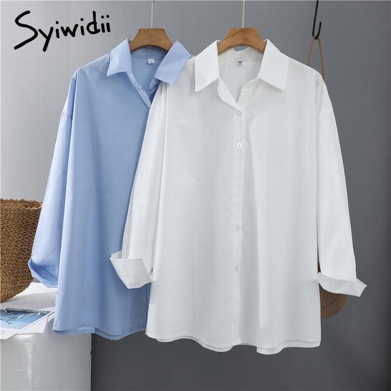 Syiwidii Frauen Blusen Büro Dame Baumwolle Übergröße Plus Größe Tops Rosa Weiß Blau Langarm 2021 Frühling Koreanische Mode Shirts