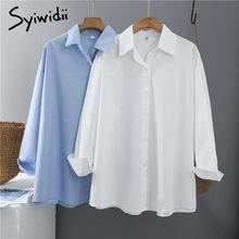 Syiwidii kobiety bluzki pani urząd bawełna Oversize bluzka w rozmiarze Plus Size różowy biały niebieski z długim rękawem 2021 wiosna koreański modne koszule