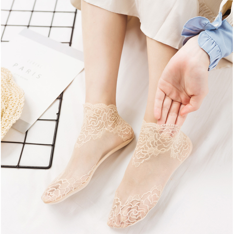 Hb333f4c0691e4624a3ea54cb0b1cd130V - Women Printing Fishnet Ankle Transparent Socks Lady Spring Summer Girl Female Sexy Fashion Lace Fish Net Short Sock Mesh Hosiery