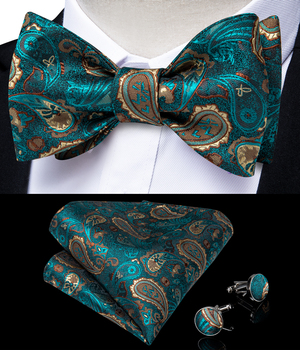 Luxury Teal Green Paisley Silk Woven Self Tie Bow Tie Handkerchief Set Wedding Party Men Butterfly Fashion Bowknot DiBanGu green causal self tie design mini dress