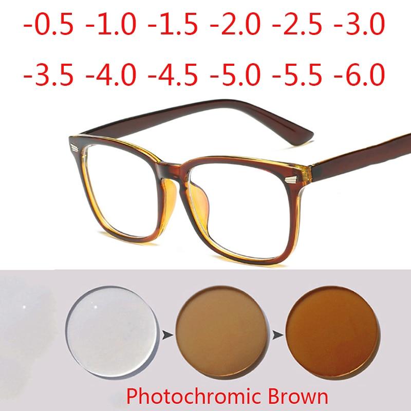 Nail Frame Finished Photochrom Myopia Glasses Nearsighted Short-sight Eyeglasses Made Prescription -0.5 -0.75 -1.0 -1.5 To -6.0