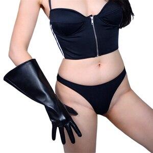 Image 5 - 38cm touchscreen luvas longas manga grande grande punho lanterna manga puff manga emulação de couro preto masculino feminino wpu134