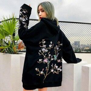 Image 5 - Hip Hop Hoodie Sweatshirt Bestickt Vogel Floral Herren Streetwear Harajuku Hoodies Pullover Lose Baumwolle Sweat Shirt 2019 Herbst