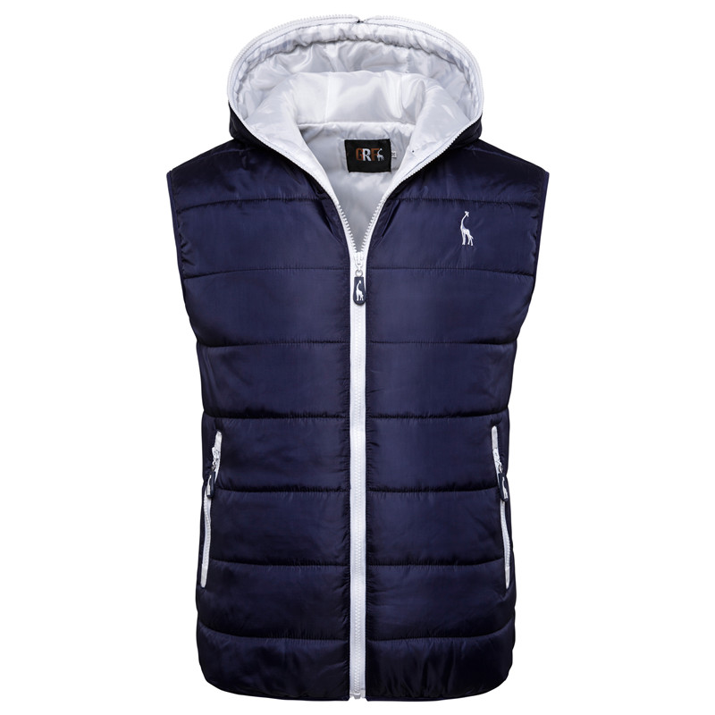 2020 New Spring Autumn Vest Jacket Men Solid Slim Fit Hooded Waterproof Coats Men Fashion Casual Zipper Sleeveless Vest Men
