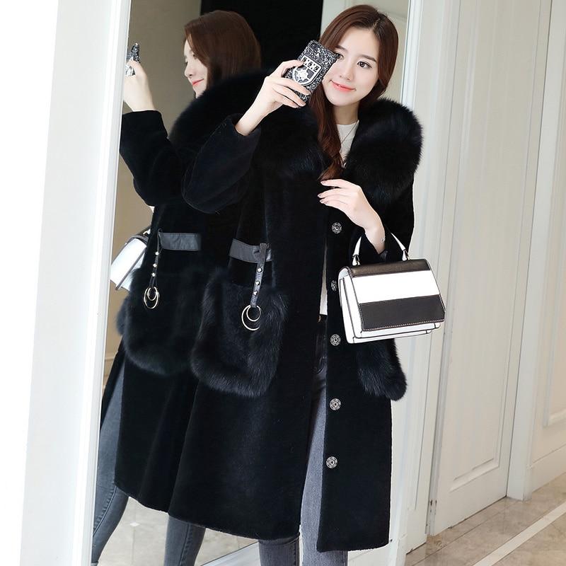 Real Fur Coat Autumn Winter Coat Women Clothes 2020 Sheep Shearling Fox Fur Collar Wool Jacket Korean Vintage Women Tops ZT3730