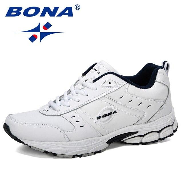 BONA 2019 New Arrival Cow Split Tênis Homem Não Deslizamento Respirável Calçados Esportivos Zapatos Homens Ao Ar Livre Tênis de Corrida calçado