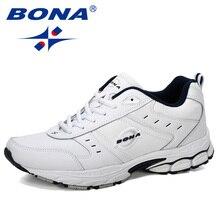 Кроссовки BONA мужские для бега, Коровья спилка, Нескользящие дышащие спортивные туфли, Уличная обувь для бега, 2019