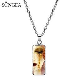 Klasyczny Gustav Klimt pocałunek naszyjnik złote łzy malowanie na szkle Dome prostokątny wisiorek naszyjniki dla kobiet biżuteria prezenty