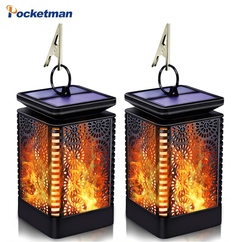 LED Solar Lantern Lights Dancing Flame Waterproof Outdoor Hanging Lantern Garden Landscape Decoration Night Lights Solar Lights