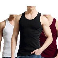 2 Pçs/lote Tank Tops Colete Masculino Respirável Dos Homens 100% Algodão Sólida Sem Mangas Tops Magro Camisola Casual Mens Presente