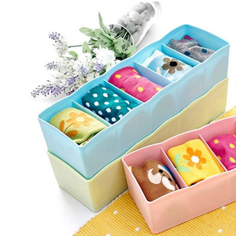 5 Grids Box Unterwäsche Lagerung Box Socken Home Storage Box Stapelbar Schublade Finishing-Box Multi-zweck Lagerung Veranstalter