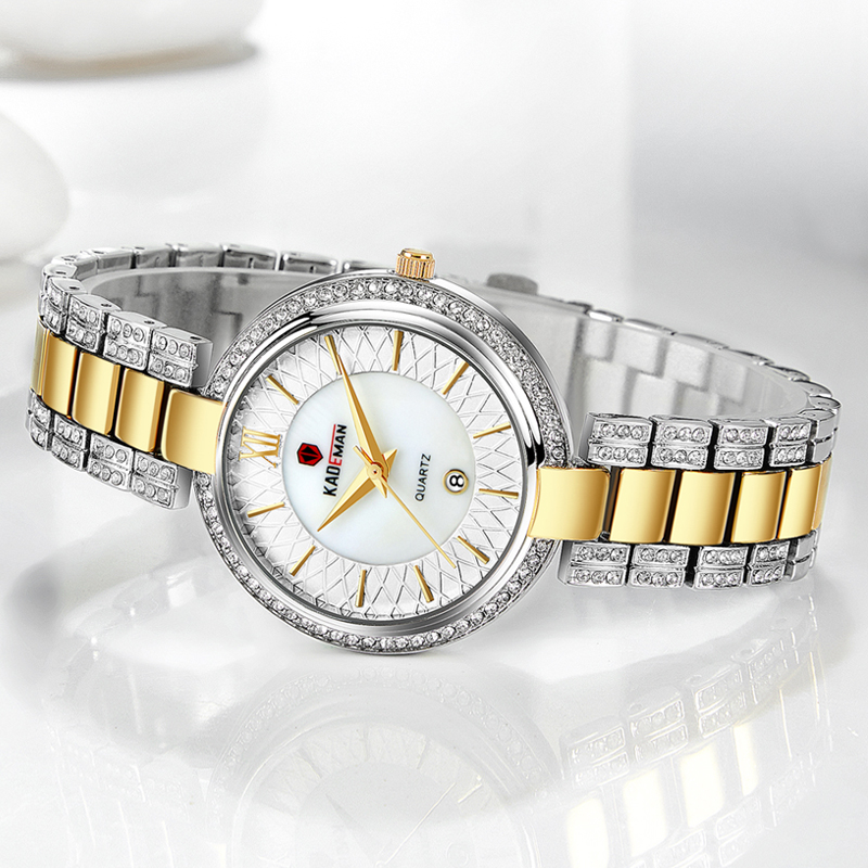859L New Arrival Top Luxury Brand Kademan Women's Quartz Watch Fashion Ladies Wristwatch Crystal Diamond Waterproof Montre Femme