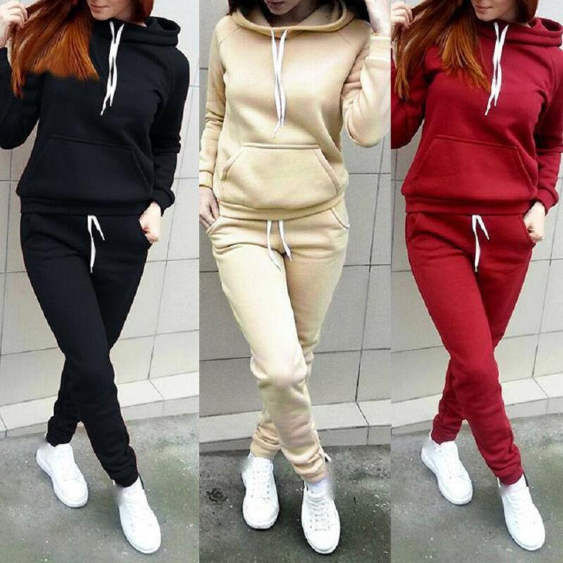 Women Sport Tracksuit Sweatshirt Set Ladies Tops Pants Solid Color Plus Size Pocket Drawstring Sweat Suit Jogging Sets UK