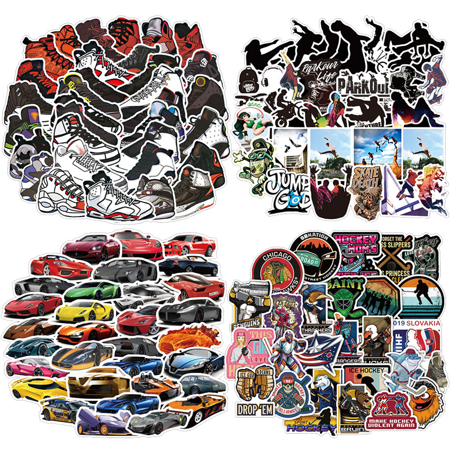 50/100pcs Parkour Sport Shoes Car Outdoor Surfing Stickers For Wall Decor Fridge Motorcycle Bike Phone Laptop Sticker No Repeat