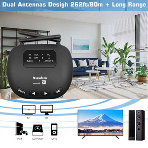 Image 2 - Nsendato Bluetooth 5.0 Music Audio Transmitter Receiver Support aptX/HD/LL Switch 3.5mm 80m/262ft Long Range Wireless Adapter TV