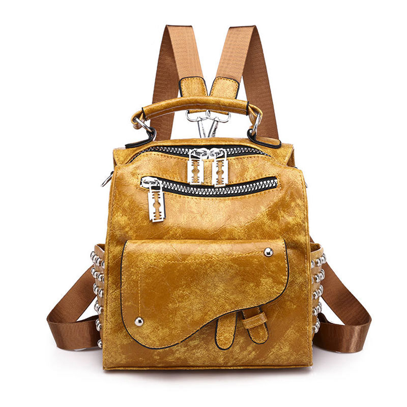 European And American Style Street Fashion Small Backpack Women Soft Leather Rivet Backpacks Girls Casual Knapsack Bag Sac A Dos