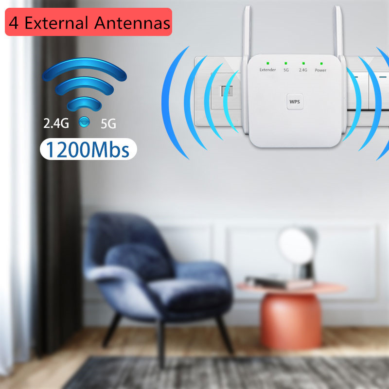 Wifi Extenders Signal Booster For Home 1200Mbps 2.4 & 5GHz Dual Band Wireless Wifi Repeater  For House Wifi Network Extender