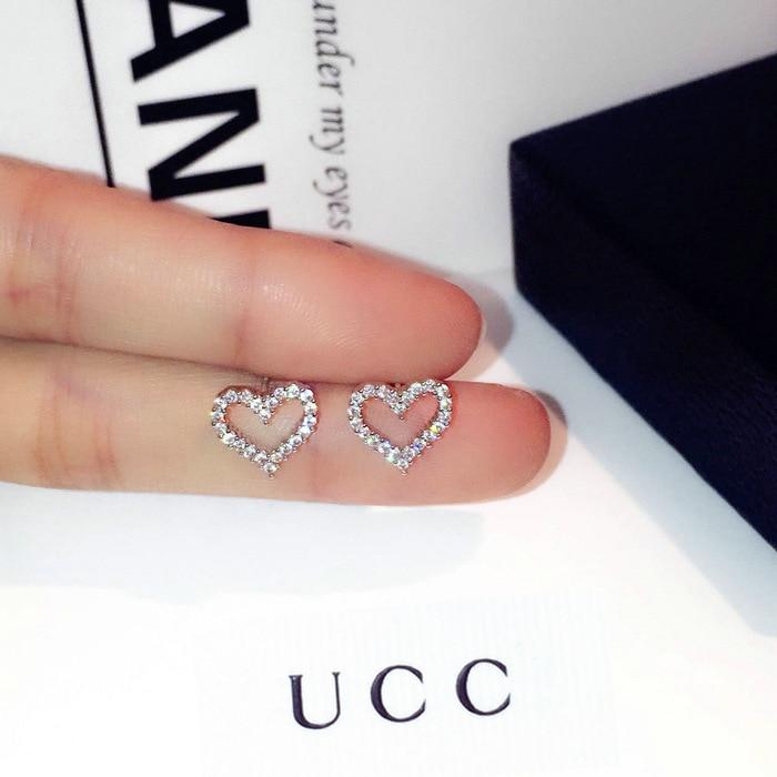 Korean Earrings S925 Sterling Silver Color Heart Bling Zircon Stone Stud Earrings for Women Fashion Jewelry 2019 New