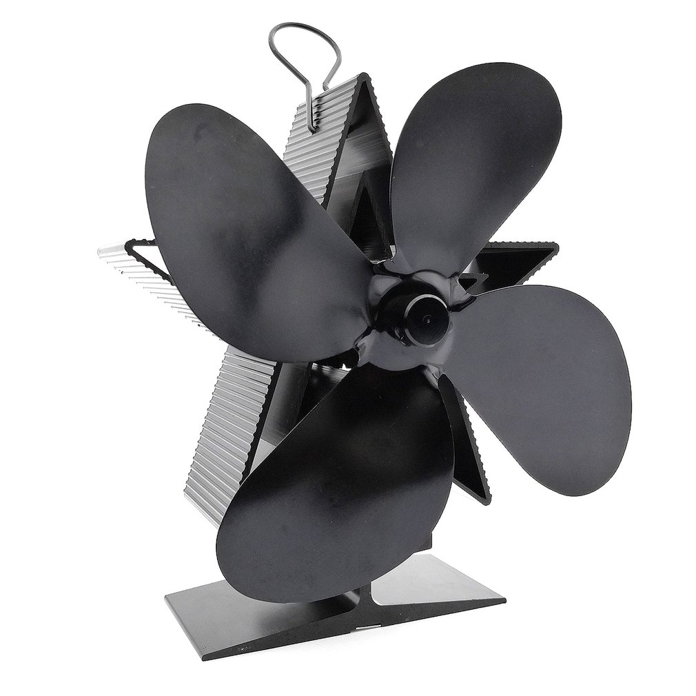Thermal Power Fireplace Fan Heat Powered Wood Stove Fan Log Wood Burner Ecofan Four-leaf Fans Efficient Heat Distribution