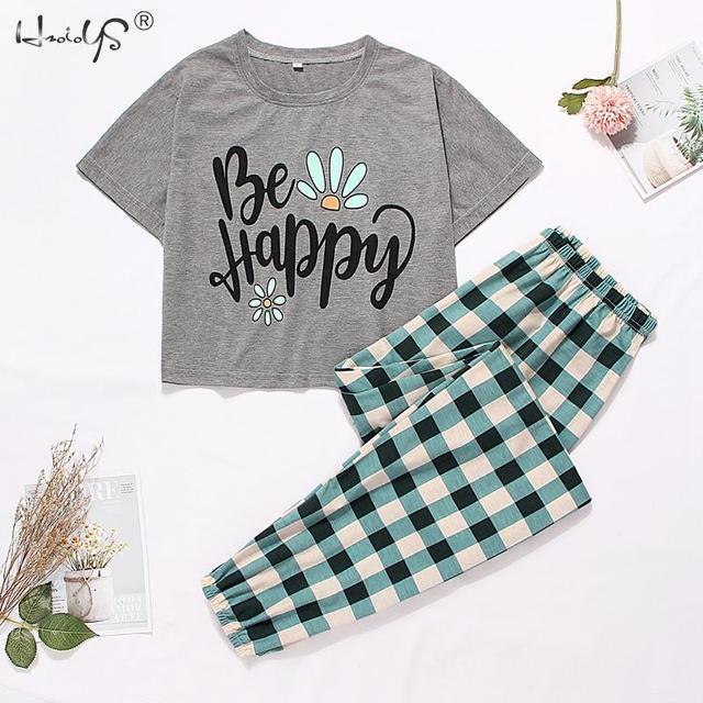 Cute Pajama Set With Short Sleeve Tee and Long Pants 1