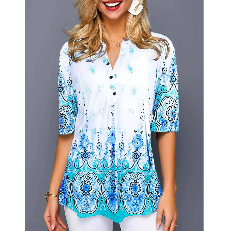 Vintage Ethnic Large Size Tops Women 2019 Casual V Neck Shirt Ladies Blouse Loose Floral Print Tunic Shirt