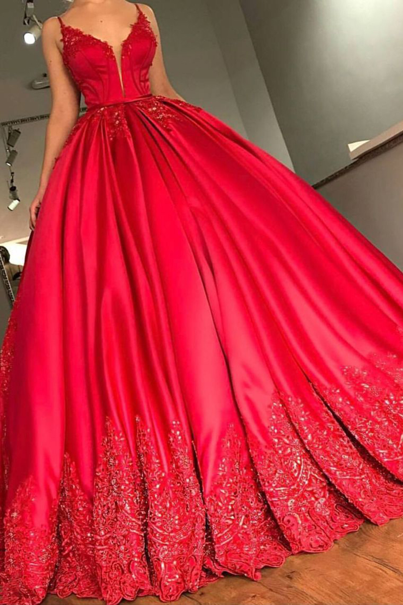 Red Ball Gown Prom Dress Long 2020 Spaghetti Straps V Neck Sequins Applique Abiye Evening Party Gown vestidos de noiva