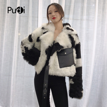 Pudi TX223905 women winter warm Real sheep fur skin coat jacket overcoat lady Cow pattern fashion genuine outwear