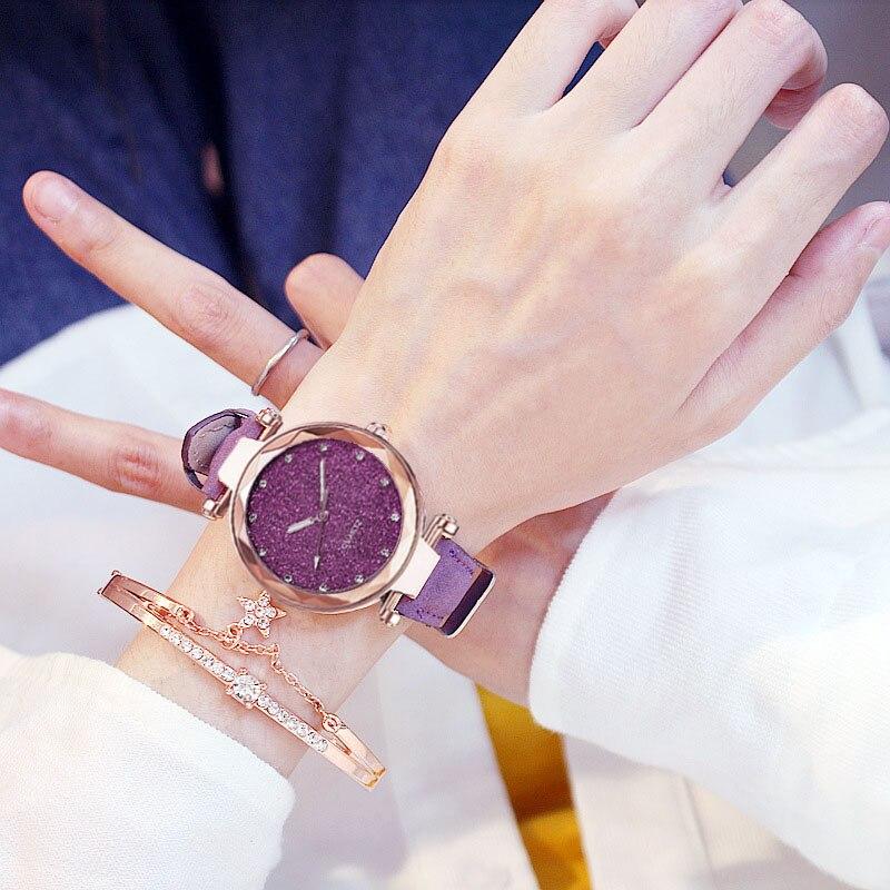 Casual Women Romantic Starry Sky Wrist Watch bracelet Leather Rhinestone Designer Ladies Clock Simple Dress Gfit  Montre Femme 4