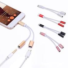 2in1 usb tipo c a 3.5mm jack divisor de áudio usb c fone de ouvido cabo adaptador de carregamento USB-C a 3.5 aux cabo de áudio para o telefone móvel