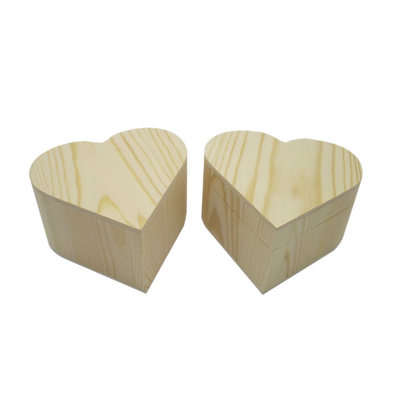 Wooden Box Heart Storage Box Jewelry Box Valentine's Day Gift Box Wooden Organizer 2 Pack