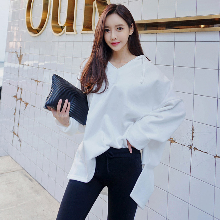 2019 Autumn And Winter New Style Korean-style Sports Leisure Suit WOMEN'S Dress Solid Color Hoodie Women's Leggings Two-Piece Se