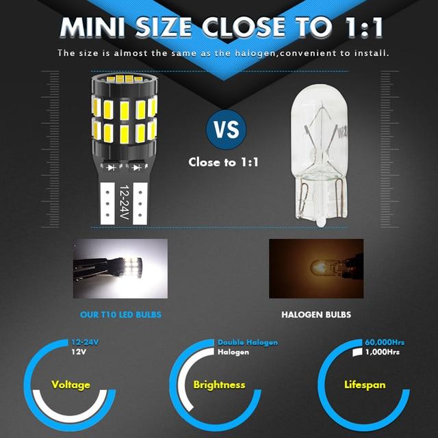 2pcs W5W T10 LED Bulbs Canbus For Car Parking Position Lights Interior Light For BMW VW Mercedes Audi A3 8P A4 6B BMW E60 E90 2