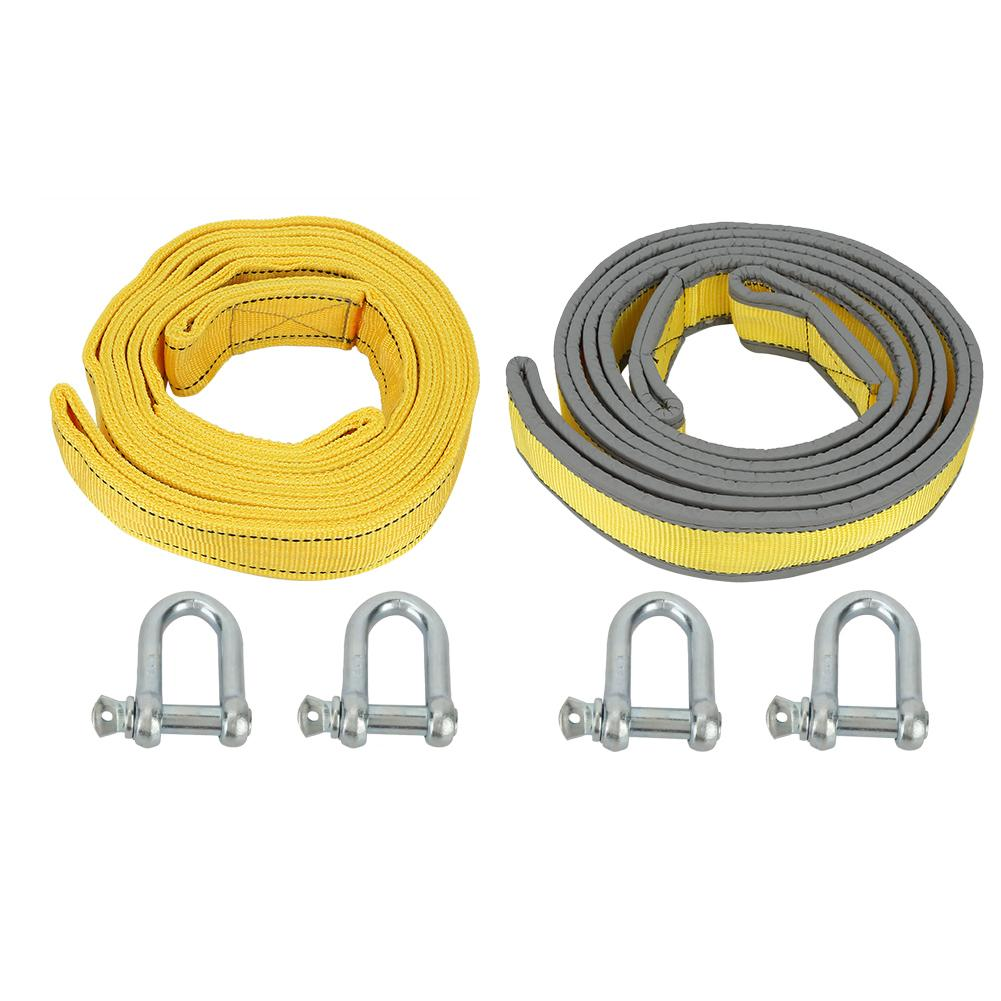 4M 8 Tons High Strength Car Trailer Towing Rope Recovery Tow Strap Flat Sling Rope With U-shape Hooks For Car Truck Trailer SUV