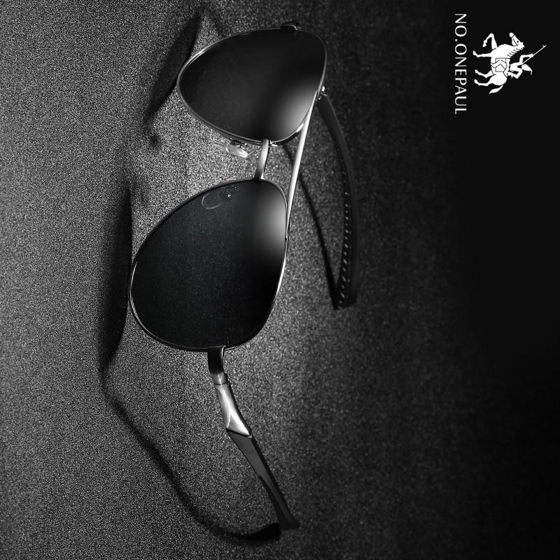 NO.ONEPAUL Design Pilot Male Sun Glasses Driving Metail Frame Quality Oversized Spring Leg Alloy Men Sunglasses Polarized Brand