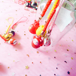 Image 4 - 40pcs Kawaii טלפון רצועות חמוד מזל חתול פעמון טלפון קסם שרשרות DIY טלפון אביזרי