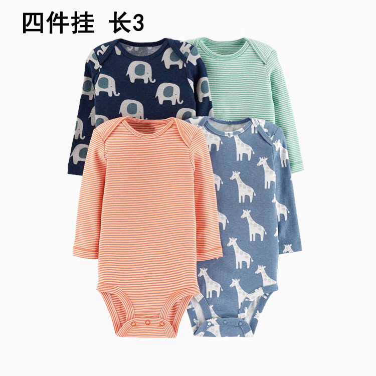 19 New Style Autumn Infants Long Sleeve Onesie Four-Piece Mount Baby Onesie Pure Cotton Triangle Romper Crawling Clothes