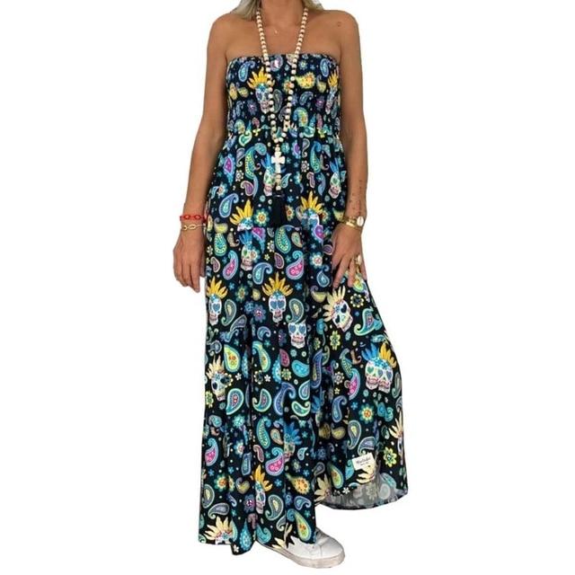 Women Strapless Bandeau Floral Beach Boho Long Maxi Dress Tube Sundress Dresses