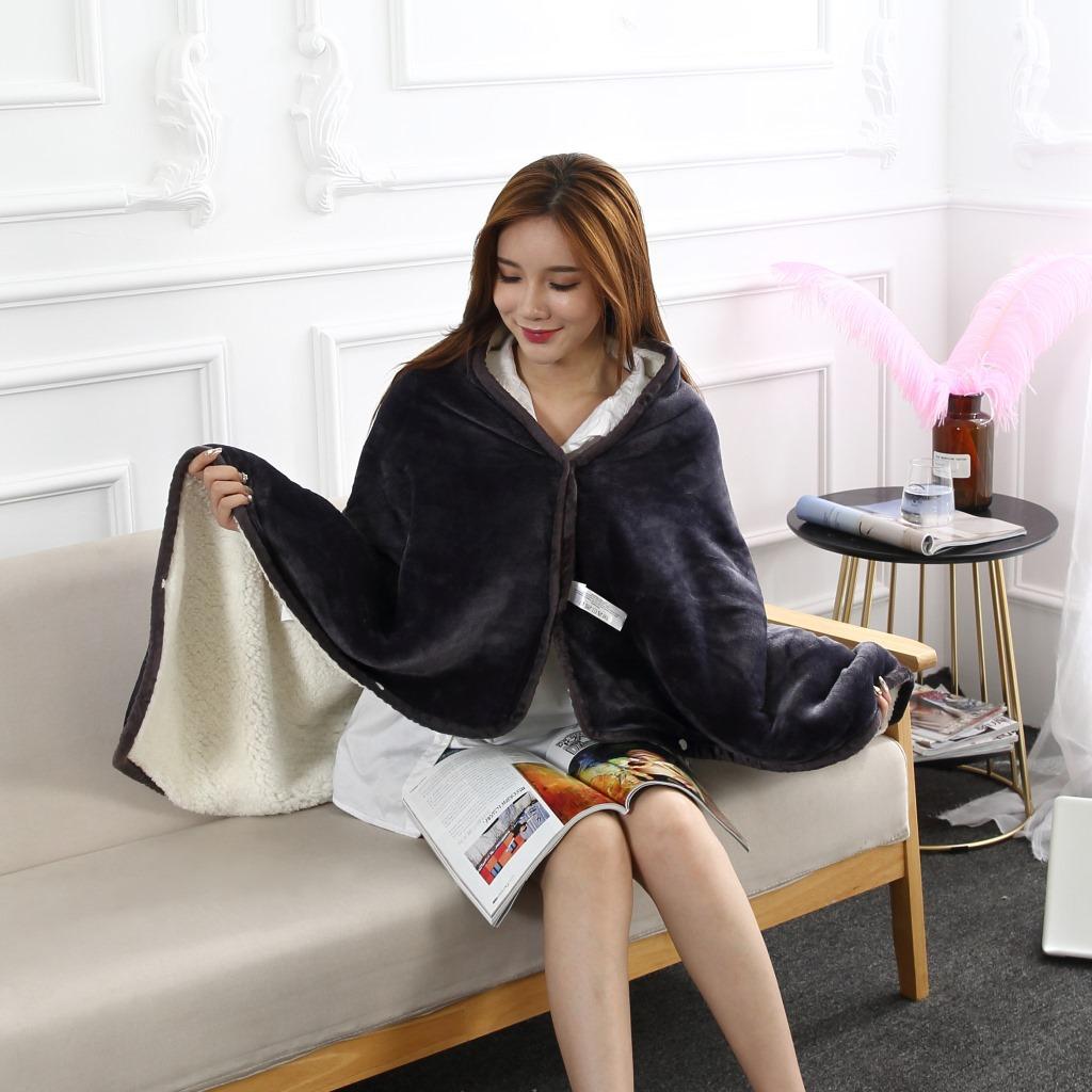 Flannel Blanket Hoodie Travel Totoro Blanket Soft Fuzzy Fluffy Blankets Sweatshirt Solid Winter Warm Fleece TV Blankets for Beds 8