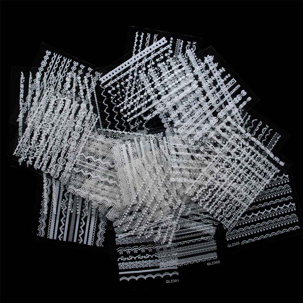 30 ピース/セットホワイトレースネイルステッカー 3D のネイルアートステッカーランダムネイルのヒントデカール Diy マニキュアデコレーション