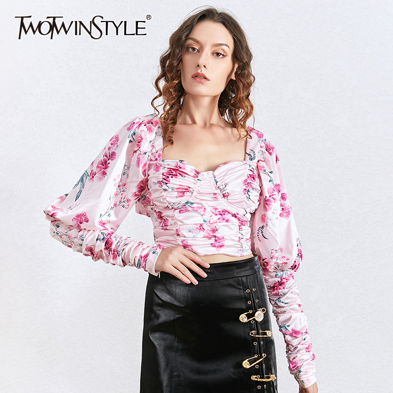 TWOTWINSTYLE Print Lace Up Bow Shirts For Women Square Collar Puff Long Sleeve Ruched Tunic Blouses Female Fashion Clothing Tide