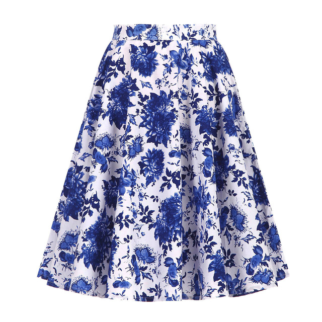 Autumn High Waist Skirts Cotton Womens Polka Dot Print Retro Vinatge Swing Pinup Skirt Rockabilly 50s Retro Vintage Jupe Femme 6