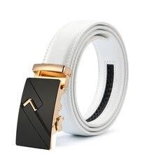 Мужской модный кожаный роскошный ремень с автоматической пряжкой cinturones hombre, черный и белый цвет, Пряжка из сплава, белый ремень для мужчин