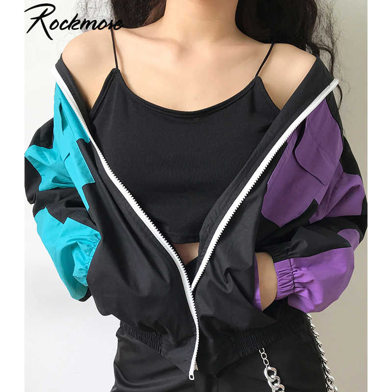 Rockmore Color Patchwork Winter Coats And Jackets Woman Oversized Zipper Turtleneck Coat Overcoats Pockets Loose Autumn Jacket